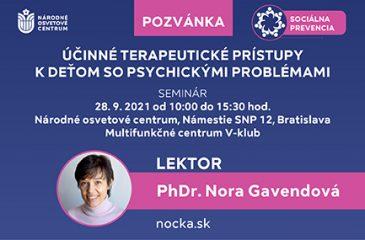 seminár: Účinné terapeutické prístupy k deťom so psychickými problémami